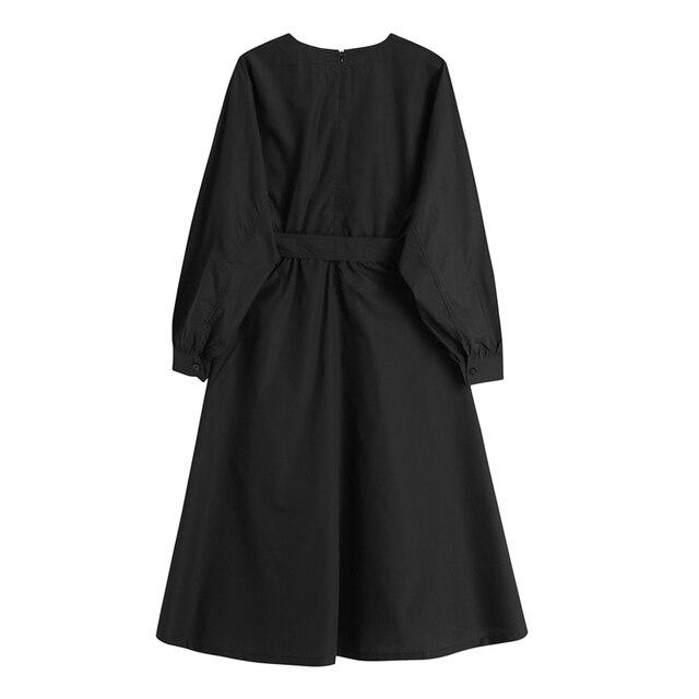 Gothic Style Black Long Dress Women Autumn Japanese Harajuku Long Sleeve With Belt Streetwear Cosplay Vintage Goth Dress Women 2