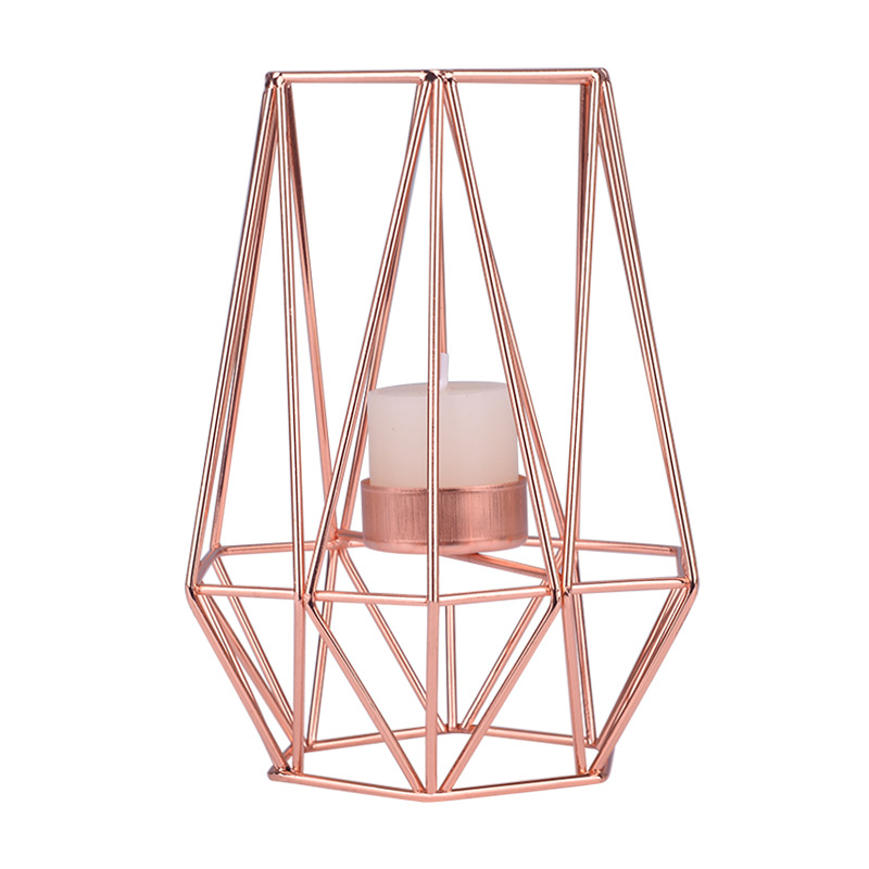 Northern Europe Light Luxury Candle Holder Gold Iron Art Candlestick Rose Gold European-Style Romantic Candle Cup Table Ornament