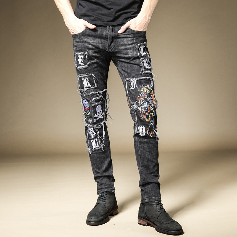 Free Shipping New Men's Male Trousers Embroidered Jeans Straight Street Fashion Nightclub Rock Punk Style Hip Hop Denim Pants