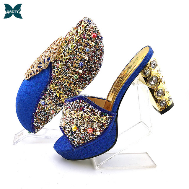 2020 New Arrival Royal Blue Color Shinning PU material Ladies Shoes and Bag Set Decorated with Colorful Rhinestone for Party