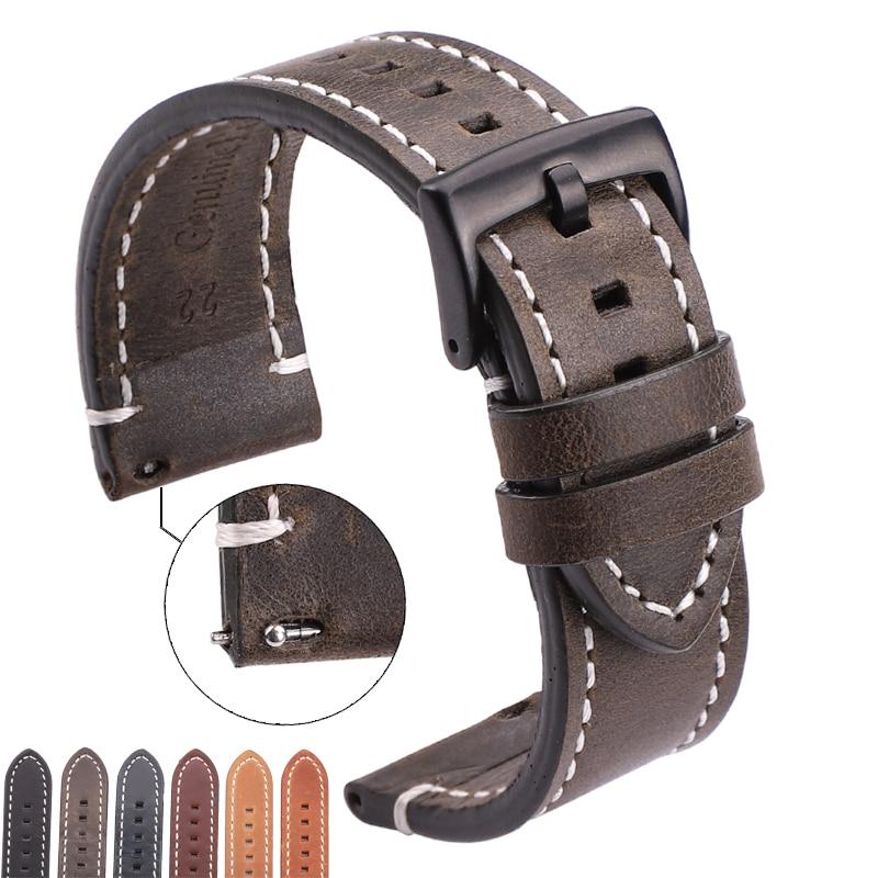 Watchbands Belt Strap 18mm 20mm Vintage 24mm Women Genuine-Leather 22mm Cowhide 7-Colors