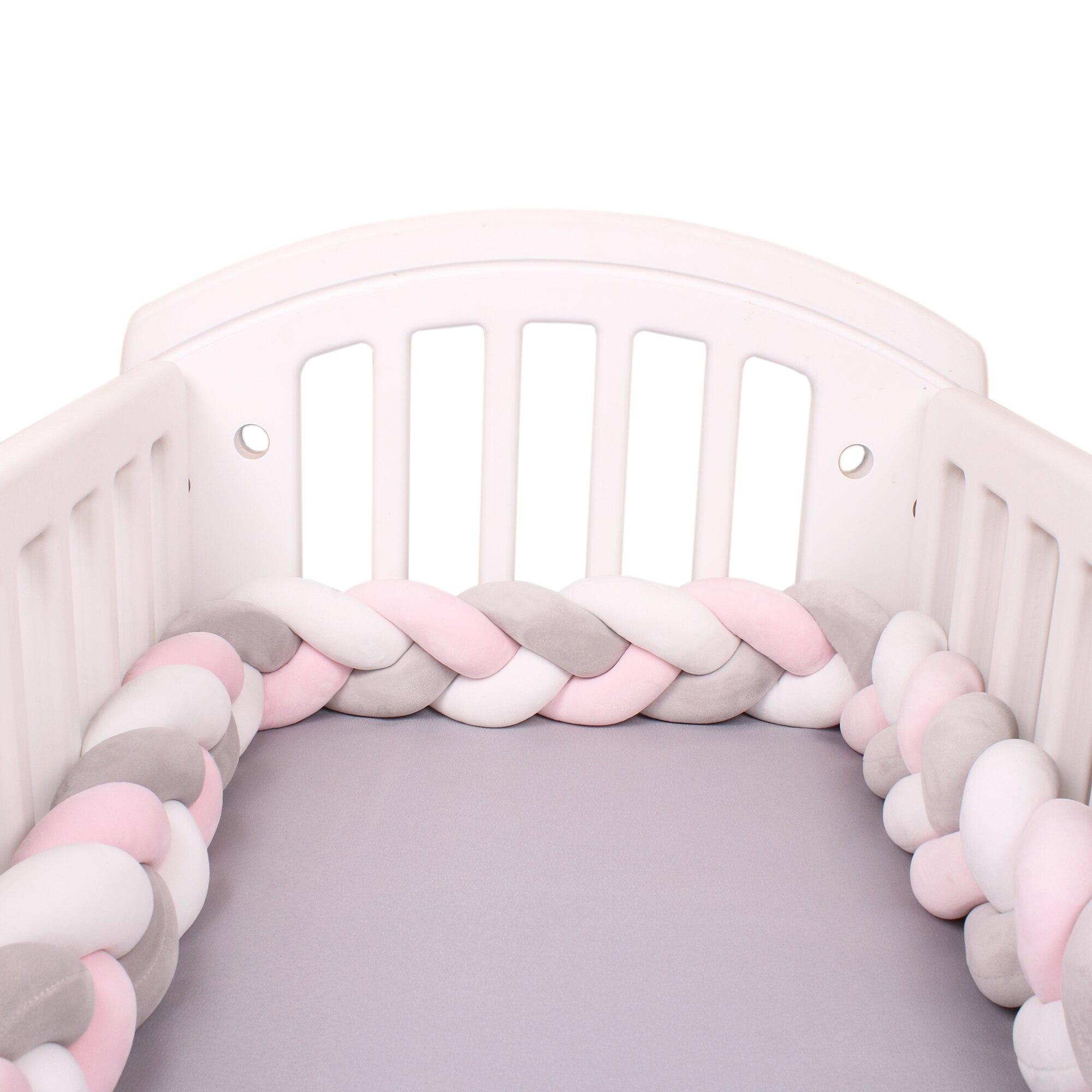 1M/2M/3M/4M Länge Neugeborenen Baby Bett Stoßstange Reinem Weben Plüsch Knoten krippe Stoßfänger Kinder Bett Babybett Schutz Baby Room Decor