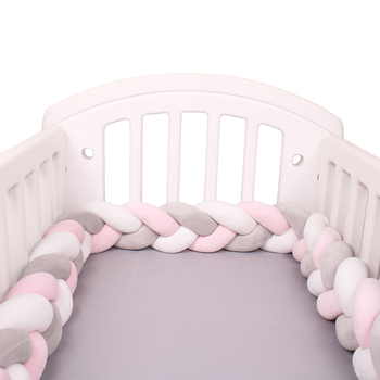 1M/2M/3M/4M Length Newborn Baby Bed Bumper Pure Weaving Plush Knot Crib Bumper Kids Bed Baby Cot Protector Baby Room Decor