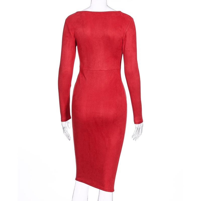 Suede Long Sleeve O-Neck Pencil Bodycon Dress 5