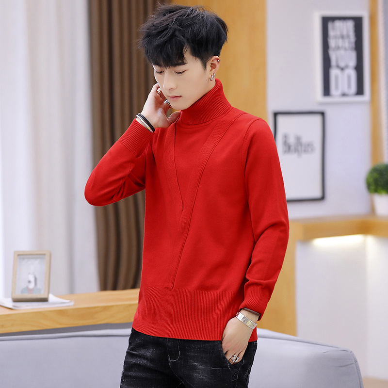 Winter Long Sleeves Men Sweater White Red Black Green Gray Pullovers Turtleneck Casual New Fashion Mens Sweaters