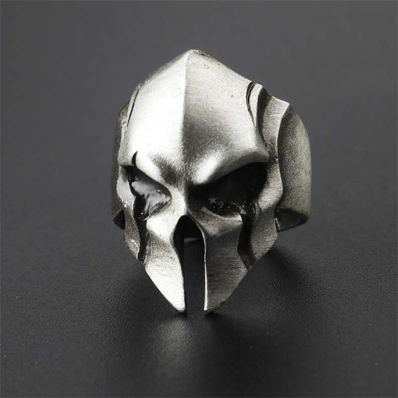 Créatif spartiate héros casque masque anneaux pour hommes femmes mâle personnalité rétro Cool Biker anneau bijoux mode Punk Rock Rap anneaux