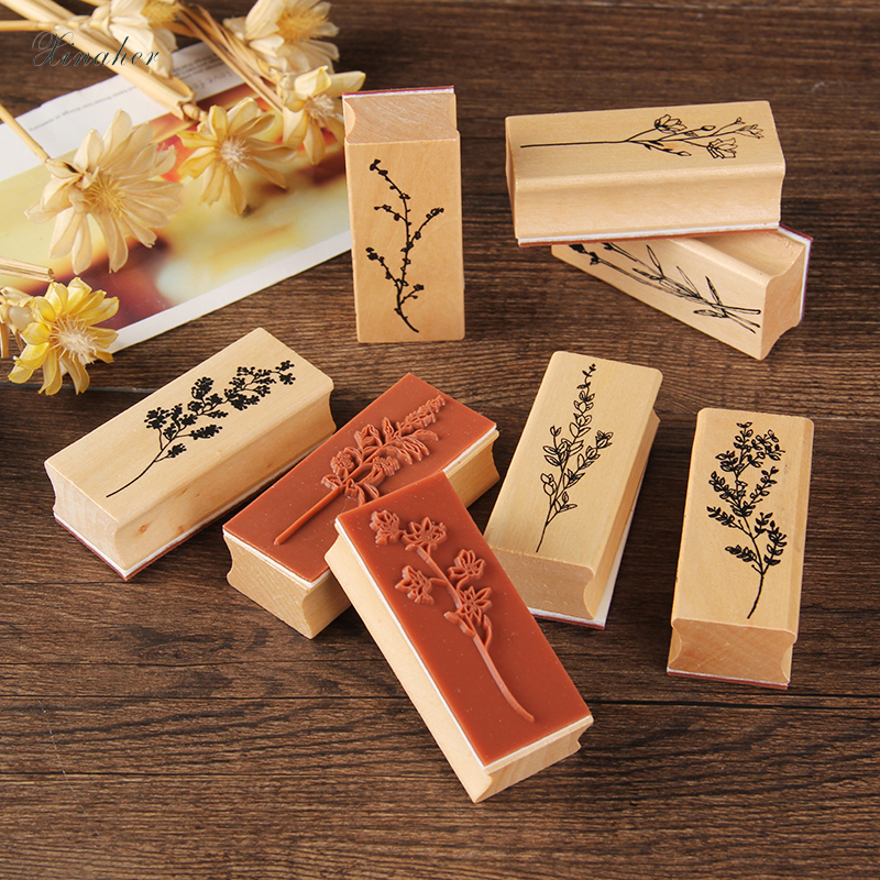 XINAHER Vintage Grass Plants Stamp DIY Wooden Rubber Stamps For Scrapbooking Stationery Scrapbooking Standard Stamp