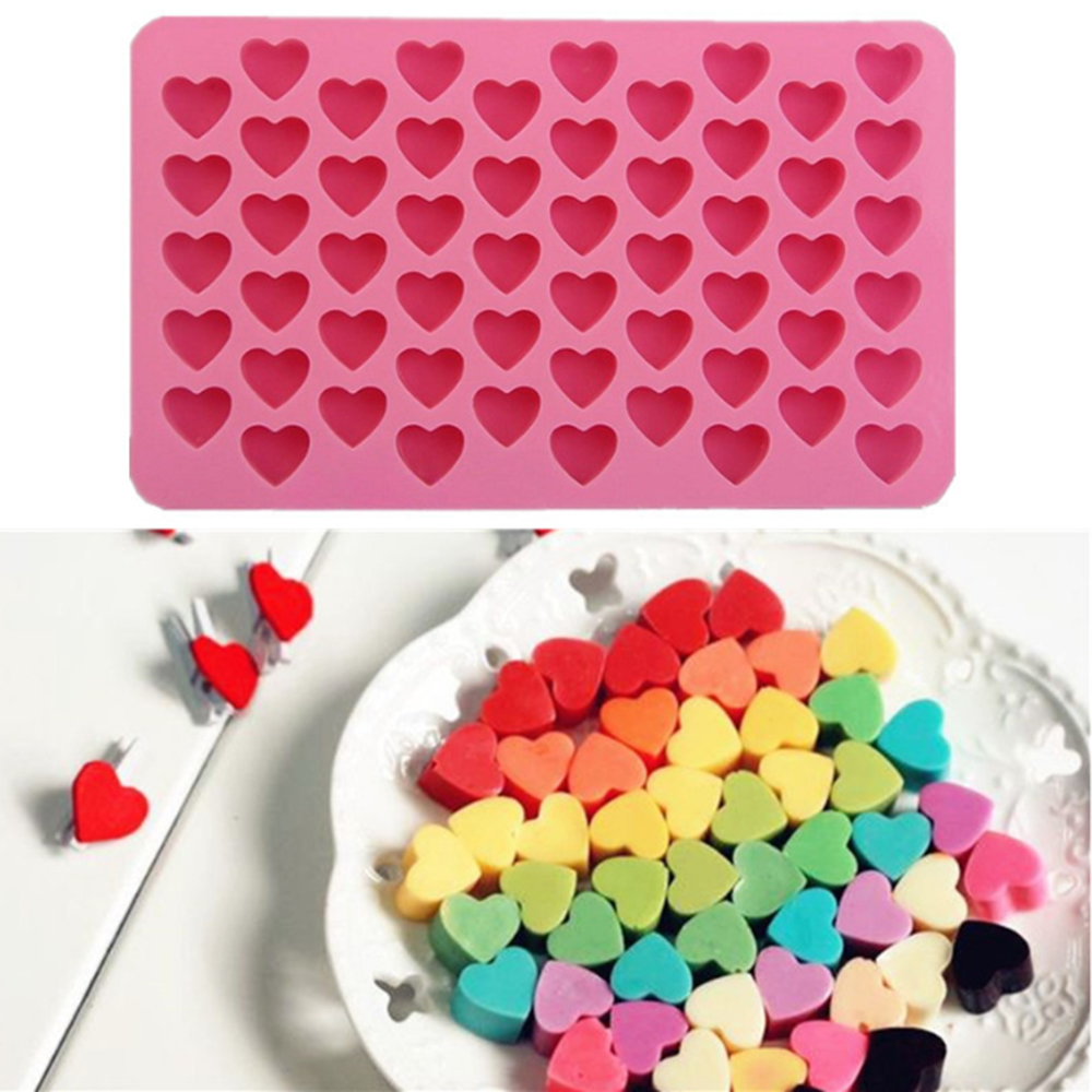 55 Holes Love Heart Shaped Non-stick Silicone Chocolate Fondant Cake Mold Jelly Ice Cube Tray Mould Kitchen Gadgets Baking Tools
