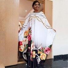 Długość 145 cm nowa afrykańska odzież damska Dashiki wzór w cętki dekolt w serek szczupła strona liści lotosu gorąca wiertarka Stretch długa sukienka