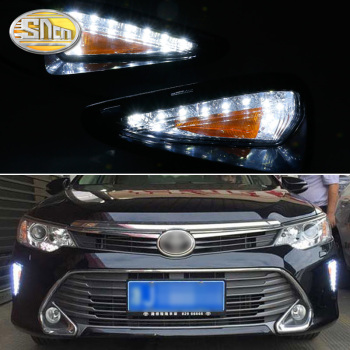 цена на For Toyota Camry 2015 2016 LED Daytime Running Light Fog Lamp Cover DRL With Dimming Functions Relay