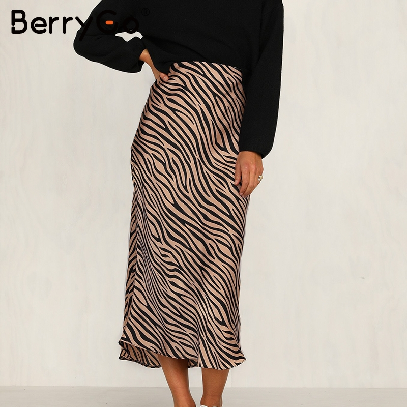 BerryGo Zebra Stripe Women Midi Skirt High Waist Straight Animal Print Female Bottom Skirt Leisure Night Club Party Ladies Skirt