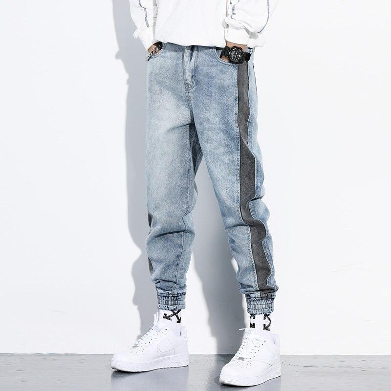 Japanese Fashion Men Jeans Light Blue Stripe Spliced Designer Cargo Pants Loose Harem Jeans Streetwear Hip Hop Jeans Men Joggers