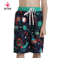 PERONA Boys Beach Shorts 4-12 Years Old Children Swim Trunks Kids Baby Board Shorts Quick Dry Surf Shorts Sports Trunks(China)