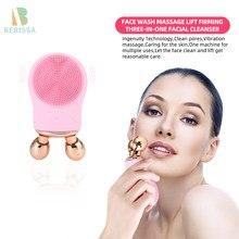 Электрическая щетка для чистки лица, силиконовая Глубокая очистка, V-образная щетка для лица для удаления остатков макияжа, перезаряжаемая ...