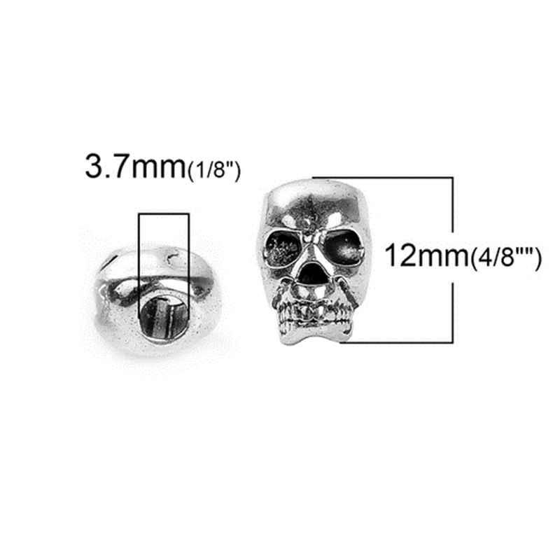 30 PCs ליל כל הקדושים 3D Spacer חרוזים גולגולת אבץ סגסוגת חרוז DIY תכשיטים ביצוע 12mm x 8mm, חור: כ 3.7mm