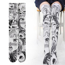 Anime Thigh High Sock Caricature Cartoon Figure Printing Stocking Cosplay Costumes Accessories TuiWa Fancy Socks Velvet caricature