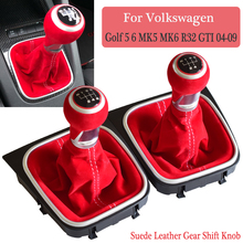 Для Volkswagen VW Golf 5 Golf 6 MK5 MK6 R32 GTI 2004-2009 руководство 5 6 скоростей замшевая кожаная ручка переключения передач Полная гаитер Boot
