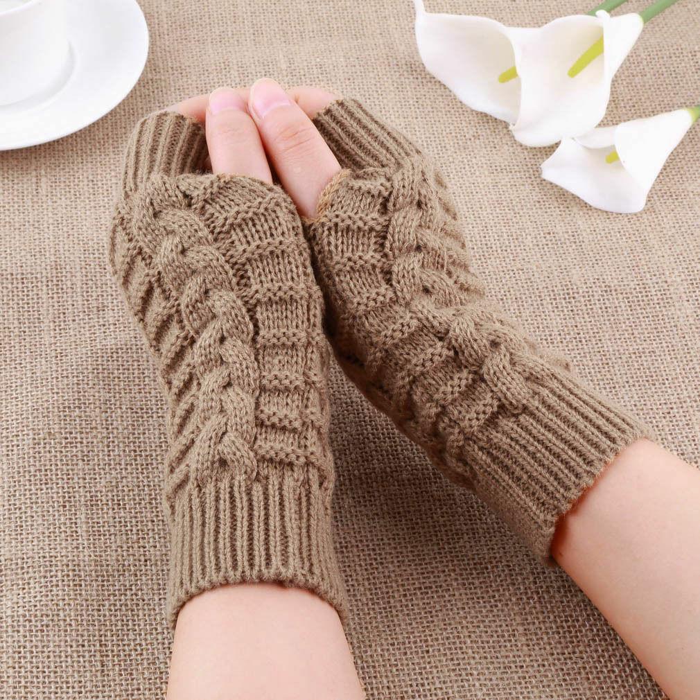 Женские зимние перчатки с открытыми пальцами, мягкие теплые шерстяные вязаные рукавицы, мягкие теплые варежки, женские перчатки унисекс