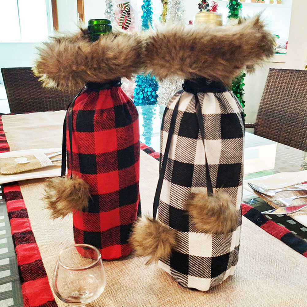 Christmas Decorations Christmas Red Wine Bottle Cover Home Decoration Red And Black Chequered Christmas Wine Bottle Cover
