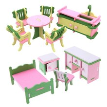 2 Set Baby Wooden Dollhouse Furniture Dolls House Miniature Child Play Toys Gifts , Style 9 with Style 12(China)