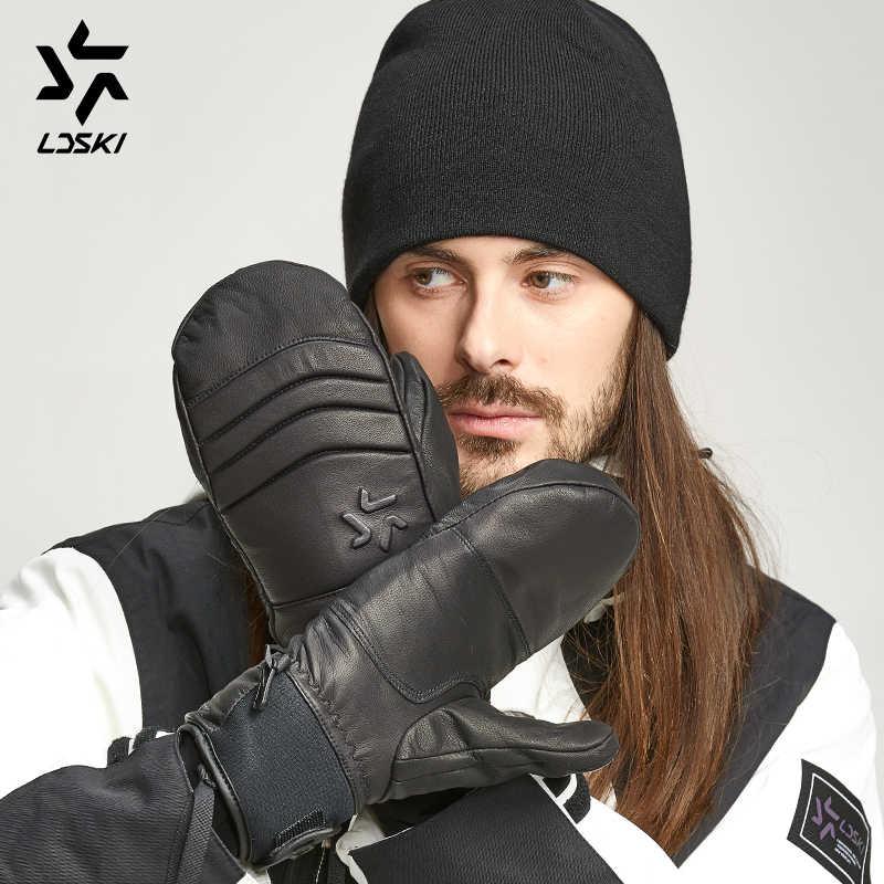 LDSKI kış termal kayak eldivenleri keçi deri rüzgar geçirmez kayak eldivenleri Snowboard koruyucu eldivenler su geçirmez kadın erkek