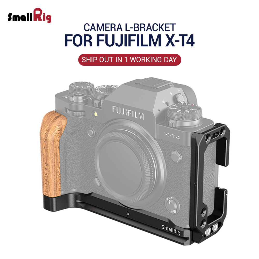 SmallRig XT4 Camera L Plate L Bracket For FUJIFILM X-T4 Camera Feature Wooden Side Grip Arca Compatible Plate Quick Release 2811