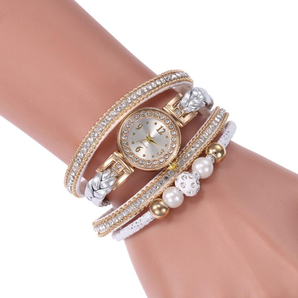 Luxury Rhinestone Imitation Pearl Women Fashionable Watch Fashion Round Dial Female Quartz Wrist Watches Best Gift