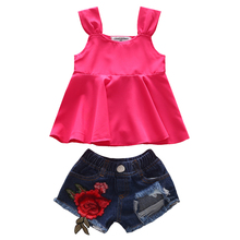 1-5T baby girl clothes summer toddler tank top and rose appliques short jeans clothing 2t girls