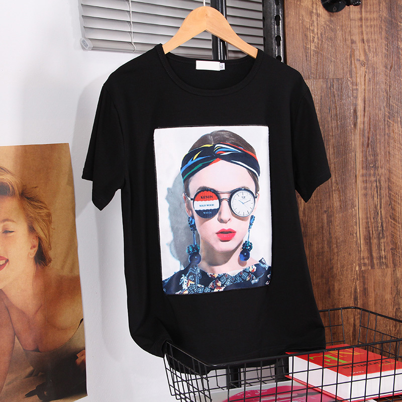 DONAMOL Summer Women's White Clothes 2020 New Fashion Western Style Loose Plus Size T-shirts Black Printing Sticker Top Female