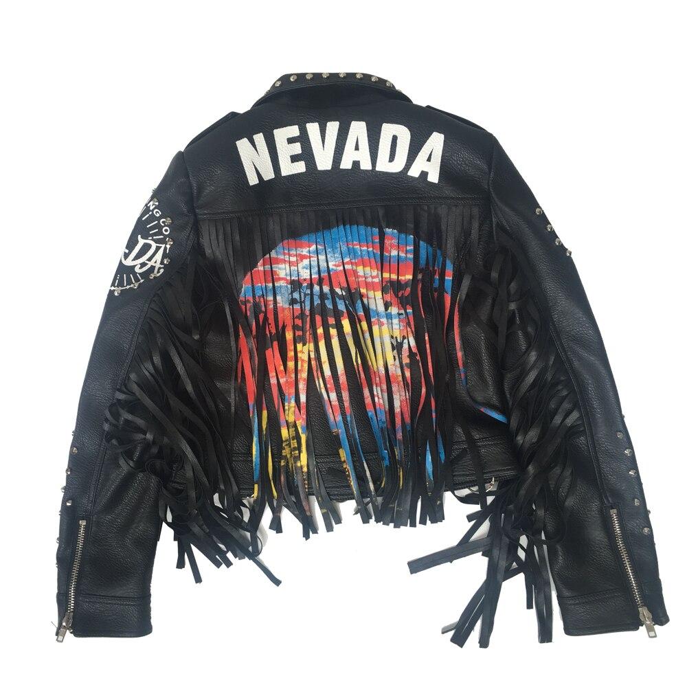 LORDLDS, женская черная кожаная куртка с кисточками, 2019, уличная одежда, на молнии, с заклепками, модный блогер, Панк куртки, женские пальто, верхняя одежда - 2