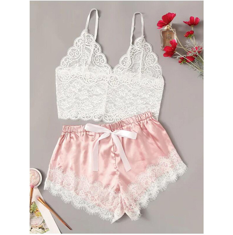 2pcs Womens Lace Pajama Set Sleeveless Crop Tops Elastic Bowknot Shorts Ladies Two Piece Set Solid Color Sleepwear Summer Pajama