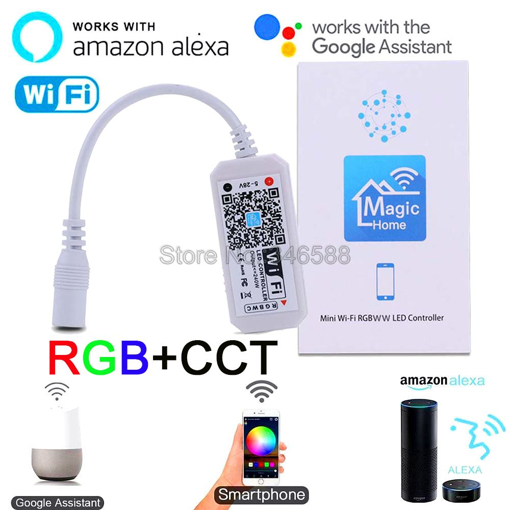 Magic Home Mini Wireless WiFi RGB+CCT Controller 12V 24V Phone APP Control Alexa Google Home Voice Control For RGBCCT LED Strip
