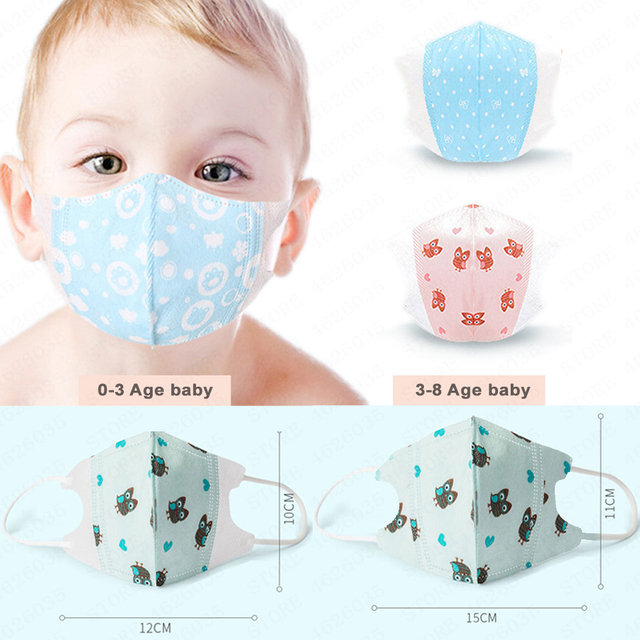 10 pcs Baby Care Kids Mouth Mask Anti Dust Activated Carbon Filter Windproof Mouth-muffle Bacteria Proof Flu Children Face masks 2