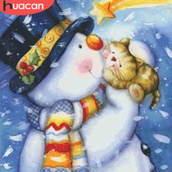 HUACAN Snow Man Diamond Painting Santa Claus Home Full Square Decoration Embroidery Beaded Picture Handcraft Layout