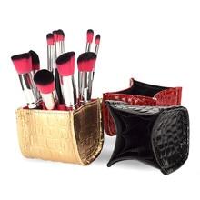 Fashion Makeup Case Brush Holder Case PU Leather Travel Pen Holder Storage Cosmetic Brush Bag Brushes Organizer Make Up Tools