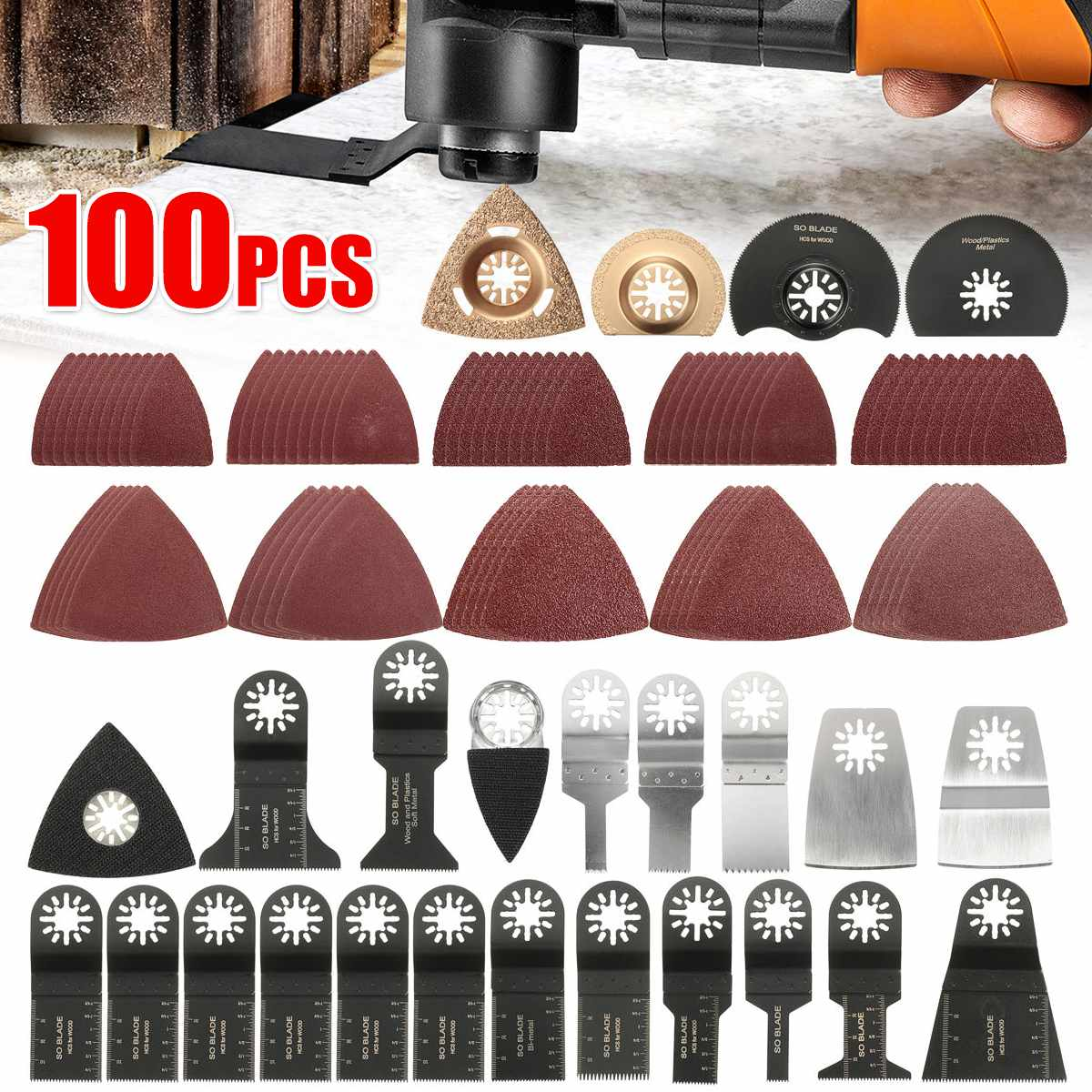 Drillpro 100pcs Mix Oscillating Multitool Saw Blade For Fein Makita Oscillating Tools