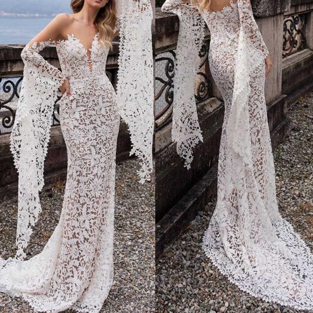קיץ חדש נשים של מודלים פיצוץ טרנדי ארוך שרוול שמלת החוף סקסי שמלות בוהמי עמוק V צוואר תחרה כלה שמלת