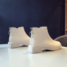 Fashion Women Boots Winter 2019 Elegant White Boots Ankle Boots Women Leather Black Boots Ladies Short Plush Boots Heel Boots boots bronx boots