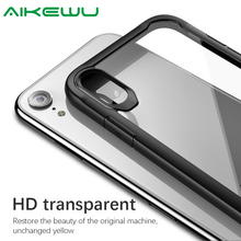 Aikewu Case for iPhone X XS Max XR Silicone Shockproof TPU Frame Acrylic HD Transparent Back Cover