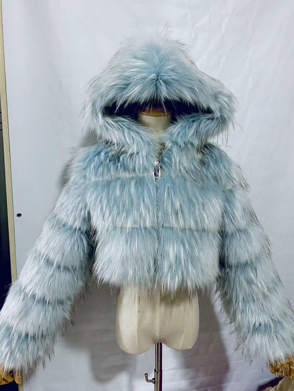 H3a131d3c00be421a9ac239672843590ay GAMPORL Fashion Winter High Quality Faux Fox Fur Coat Women Vintage Long Sleeve With Cap Slim Short Jackets Furry Coat Femme