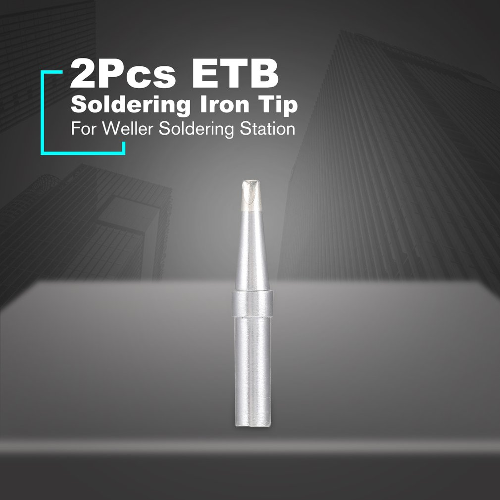 2Pcs ET <font><b>Soldering</b></font> <font><b>Iron</b></font> Tips ETB Welding Tools ETS <font><b>Soldering</b></font> Tip for <font><b>Weller</b></font> WES50/WES51/WESD51 <font><b>Soldering</b></font> Station Rapid Heating image
