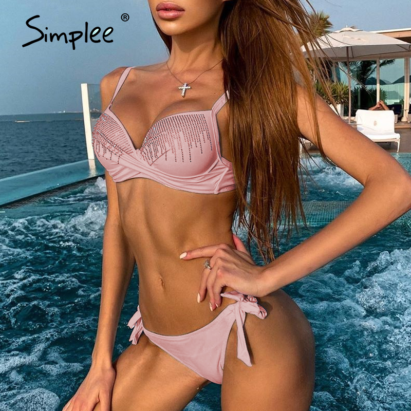 Simplee Sexy Rhinestone Bikini Set Push Up Knot Two Piece Bow Strap Swimwear Summer Beach Wear Women Holiday Party Swimsuit 2020