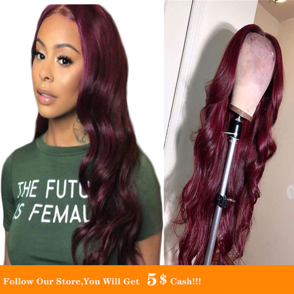 Wine Red Lace Front Wig Synthetic Red Colorful Synthetic Wig Women 26 Inch Silky Long Wavy Coaplay Hair Heat Resistant
