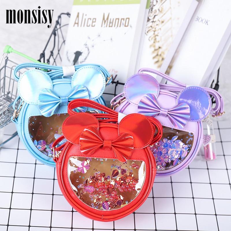 Monsisy New Children Coin Purse And Handbag For Girl Shiny Crossbody Bag Cartoon Mouse Bow Cat Bag Kid Wallet Baby Money Bolsa