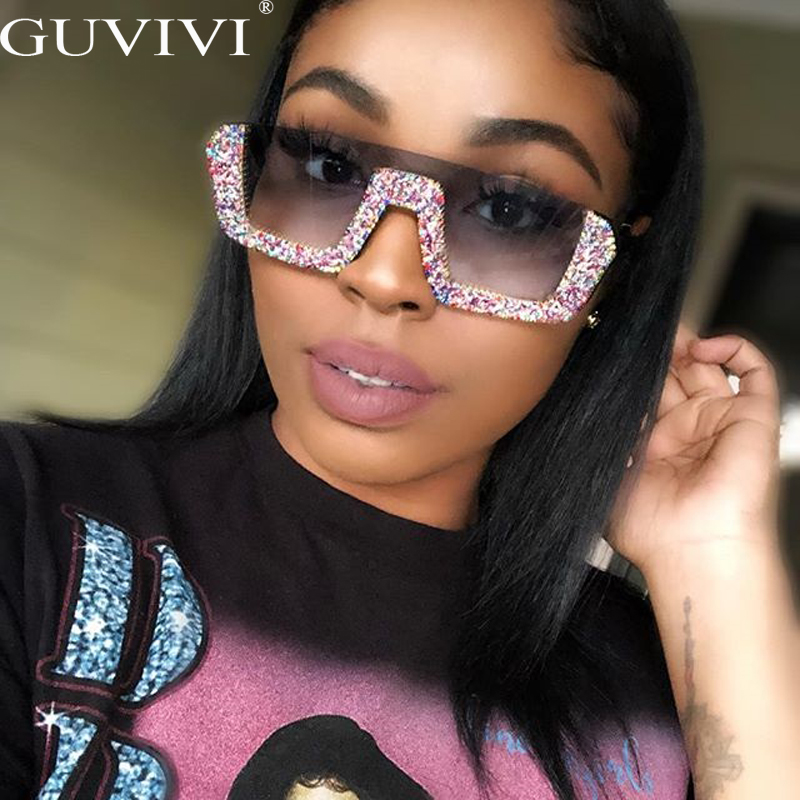 Diamond Semi-Rimless Square Sunglasses Women Rhinestone Retro Gradient Sun Glasses Vintage Oversized Feminino Eyeglasses UV400