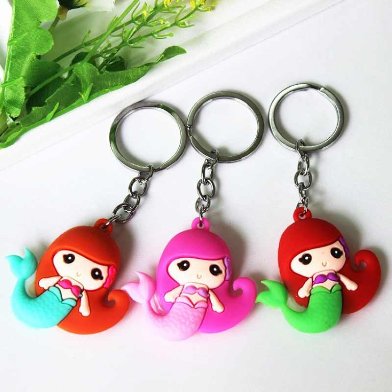 Sirène queue enfant porte-clés gel de silice porte-clés pendentifs décoratifs pour femmes sacs voiture clé téléphone accessoires fête de mariage maman cadeau