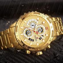 NAVIFORCE Men Watches Gold Stainless Steel Quartz Watch 50m