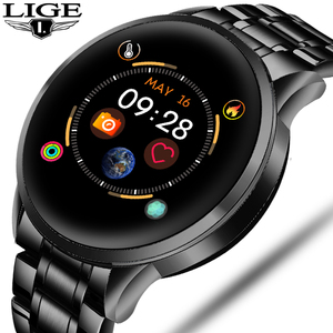 LIGE New Steel Smart Watch Men Waterproof sport For iPhone Heart rate blood pressure call Information smartwatch Fitness tracker(China)