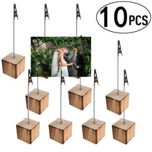 Photo-Holders with Clip for Pictures Memos And Table Numbers-Pine Wood Cube Base Party