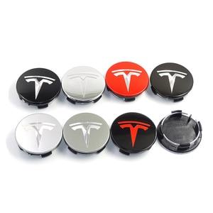 Image 1 - TESLA MODEL X için S 3 araba styling XWC1385 01 oto aksesuarları 56MM 58MM rozet tekerlek jant kapağı kapağı amblemi